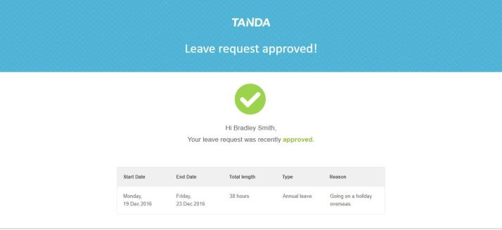 Tanda leave request approval