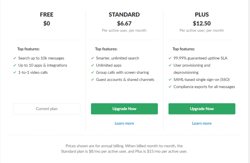 slack-pricing plan